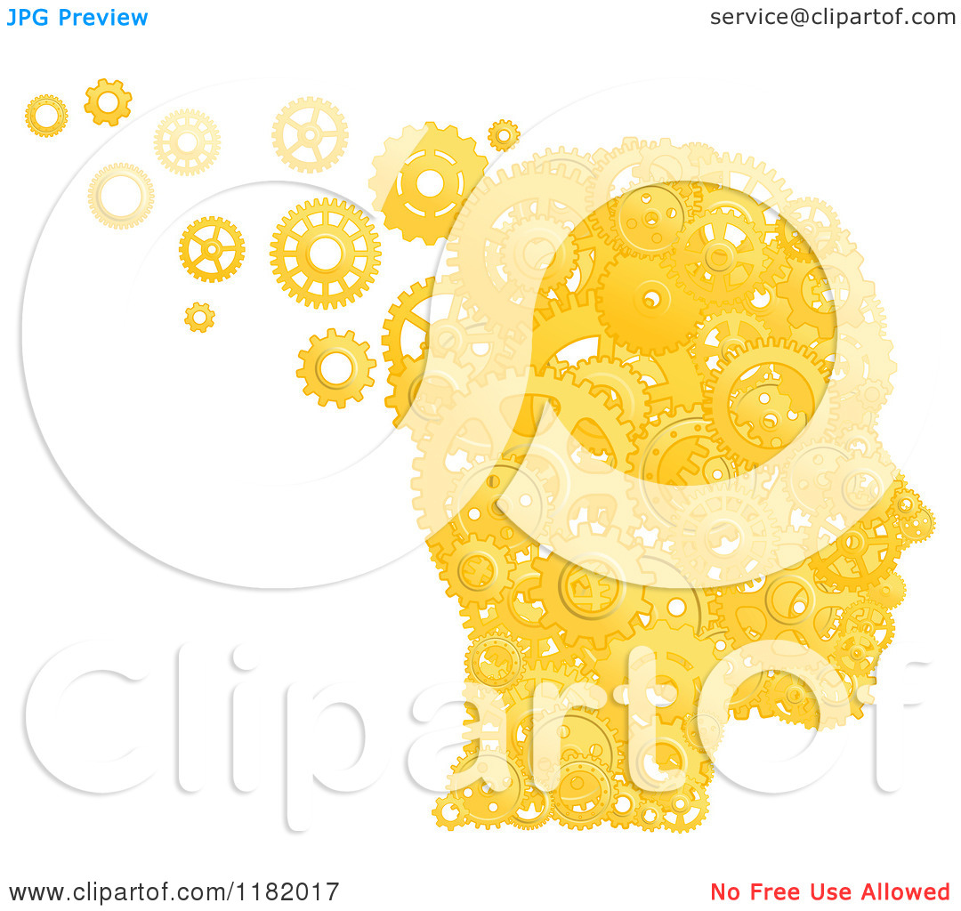 Clipart of a Head Formed of Gold Pistons and Gears.