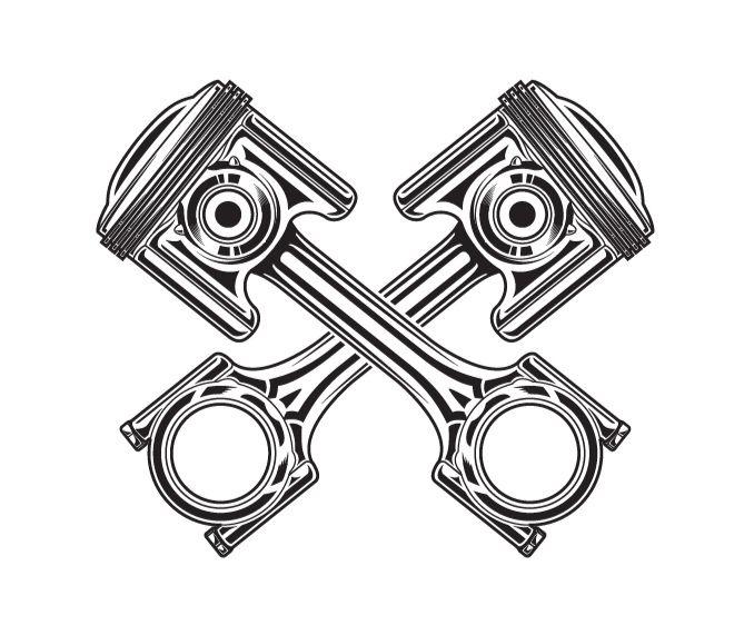 Line art vector illustration of a motorcycle piston.