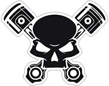Funny Skull with Piston Logo Hood, Bumper, Sides, Windows Car Sticker  (Black).