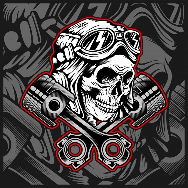 Skull Helmet With Piston Hand Drawing Vector, Skulls.