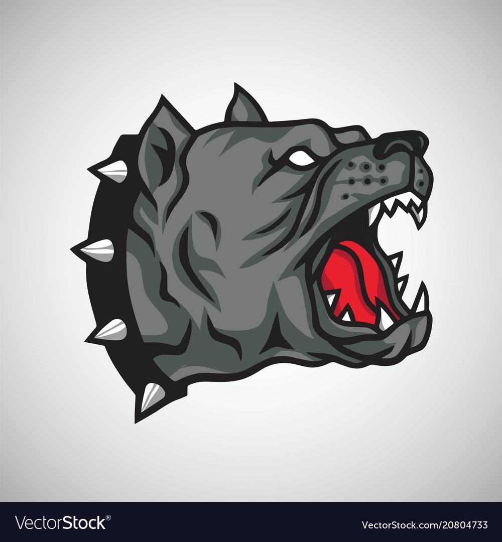 Angry pitbull dog logo mascot design.