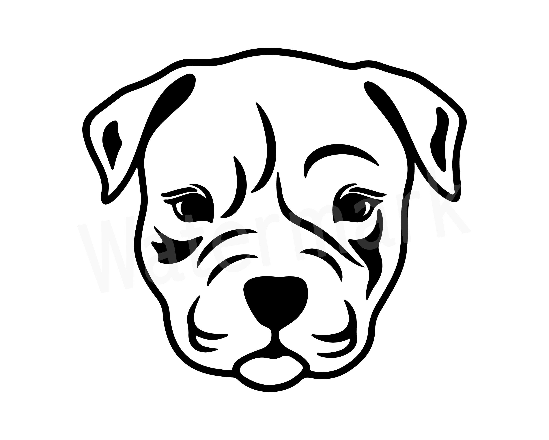 Pitbull SVG Silhouette Clipart, Dog Head, Dog Lover, Dog Mom.