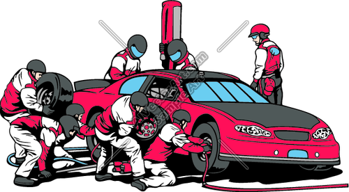 Race Car Pit Crew Working Clipart and Vectorart: Vehicles.