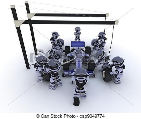 Clip Art of Race car pit stop.