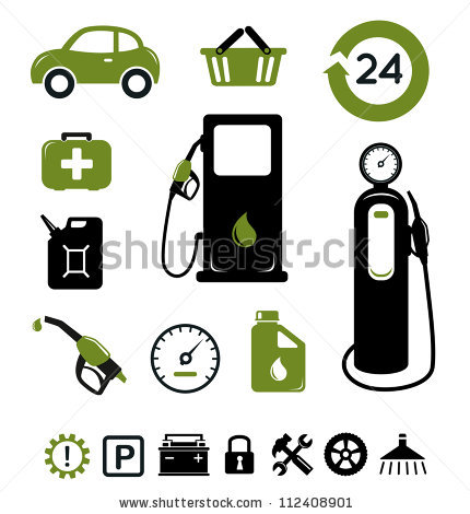Gasoline Station Pit Stop Icons Set Stock Vector 112408901.