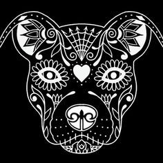 pit bull face with heart flower drawing clipart.