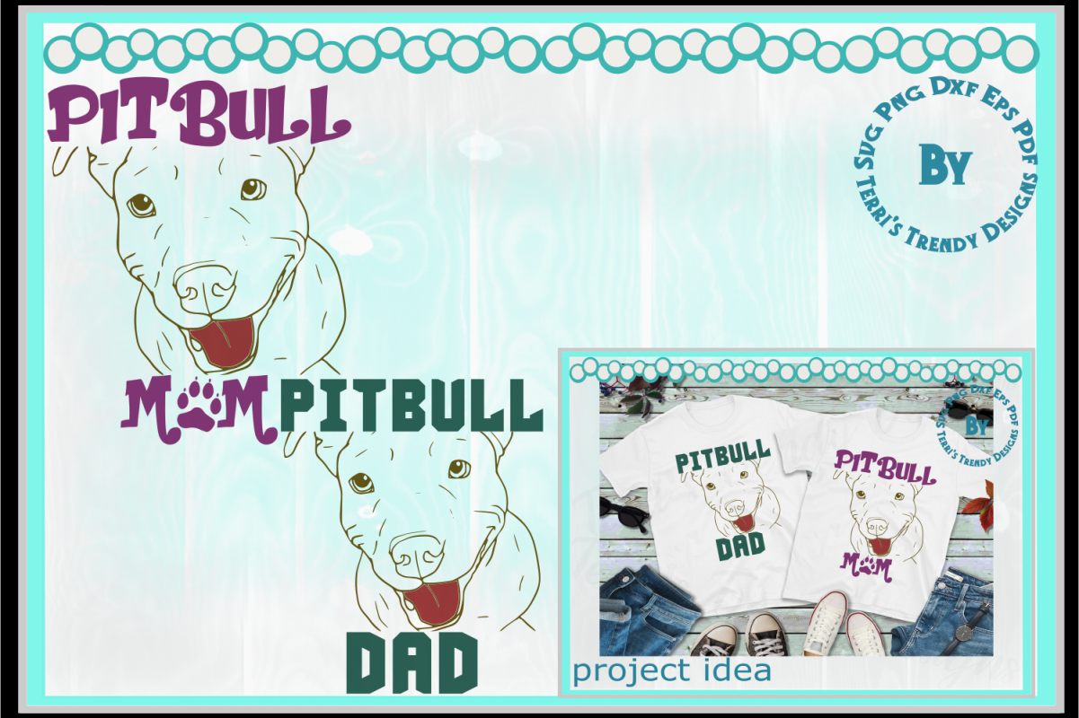 Mom and Dad animal lover pitbull matching t.
