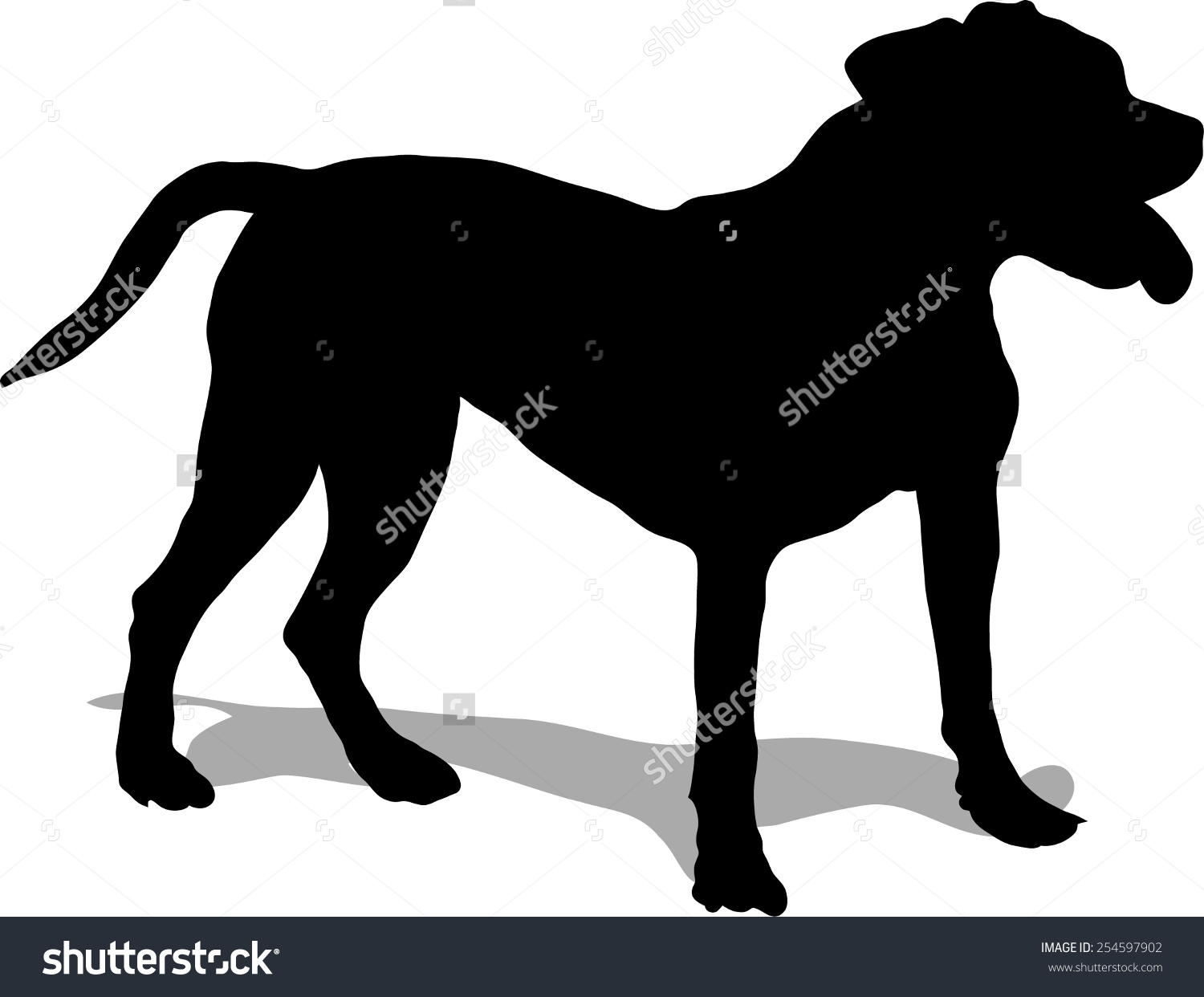 Dog Illustration Pit Bull Black Silhouette Stock Vector 254597902.