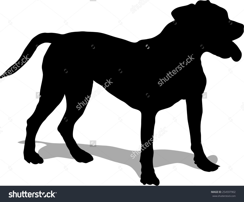 Dog Illustration Pit Bull Black Silhouette Stock Vector 254597902.