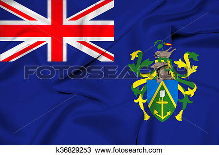 Drawing of Waving Flag of Pitcairn Islands k36829253.