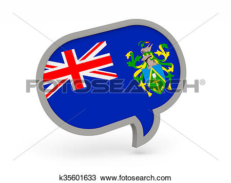 Drawing of Chat icon with flag of pitcairn islands k35601633.