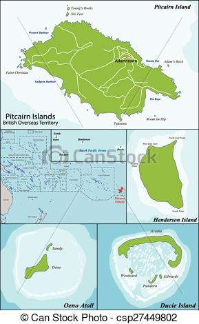 Vector Clipart of Pitcairn Islands map.
