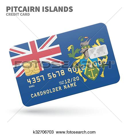 Clipart of Credit card with Pitcairn Islands flag background for.
