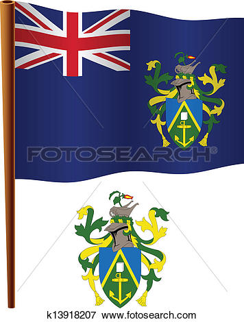 Clip Art of pitcairn islands wavy flag k13918207.
