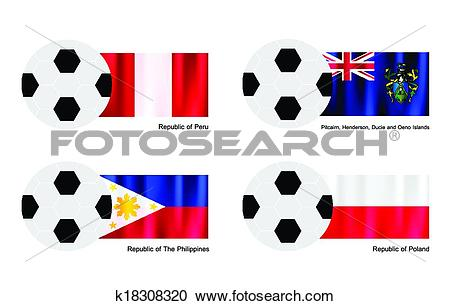 Clipart of Soccer Ball with Peru, Pitcairn Islands, Philippines.
