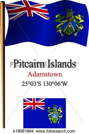 Clipart of pitcairn islands wavy flag and coordinates k18061894.