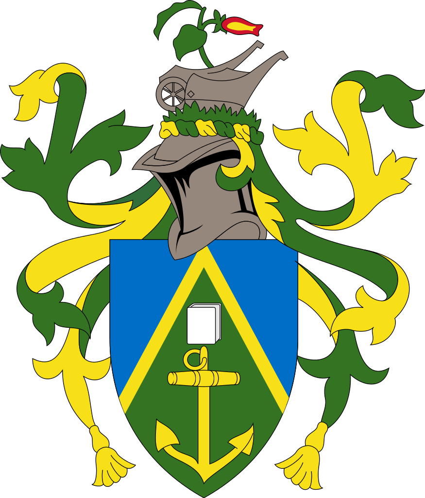 Flag and coat of arms of the Pitcairn Islands.