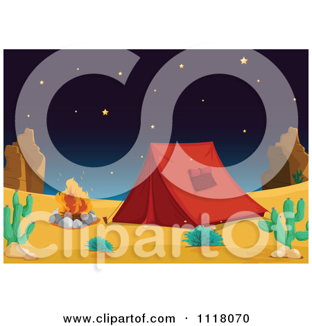 Vector Clipart Of A Camping Tent Pitched By A Fire In The Desert.