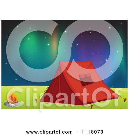 Vector Clipart Of A Red Camping Tent Pitched By A Fire Under The.