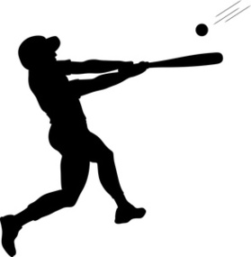 Batter Clipart Image Swinging Baseball Bat At A Pitched Ball.