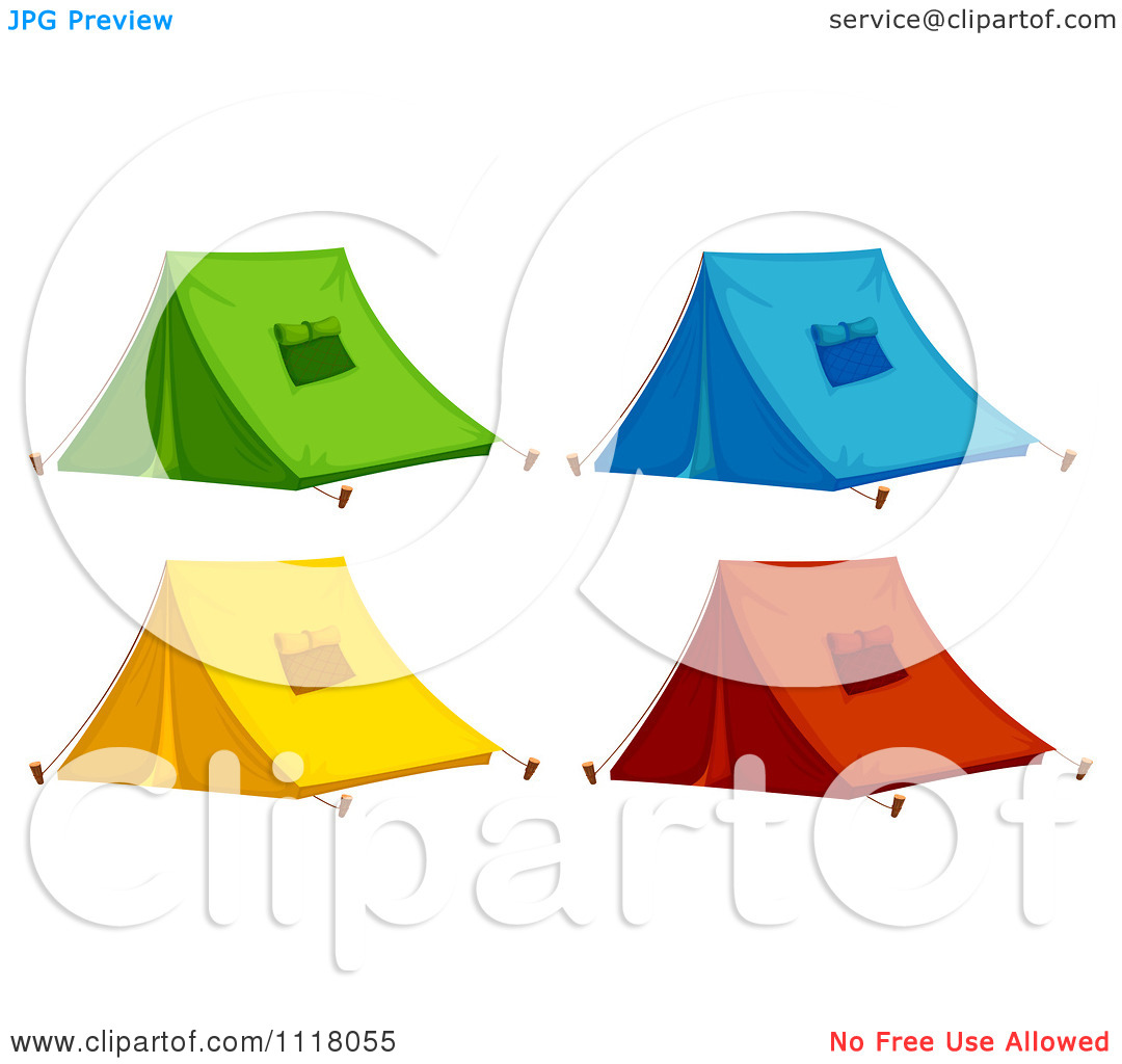 Vector Clipart Of Green Blue Yellow And Red Pitched Camping Tents.