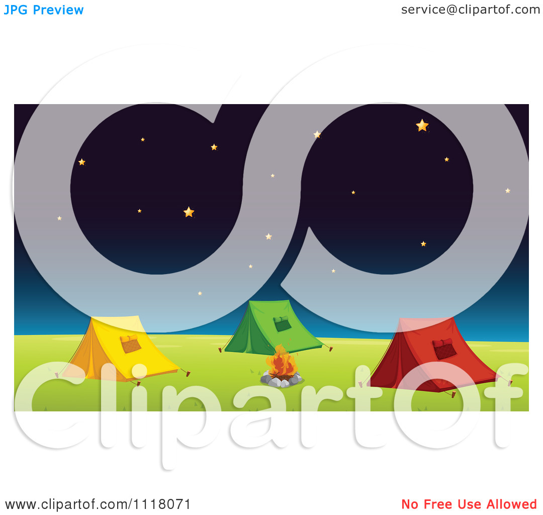 Vector Clipart Of A Tents Pitched By A Campfire Under The Stars On.