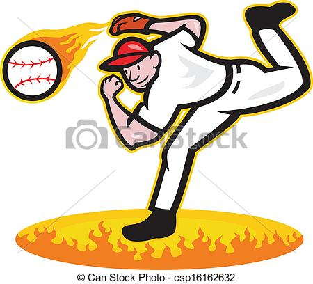 Baseball Player Pitching Clipart.