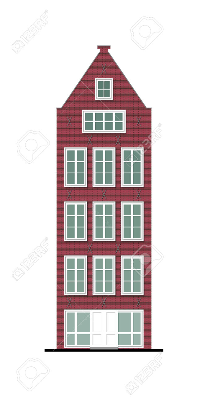 Illustration Of A Beautiful Old Townhouse Made Of Vinous Brick.