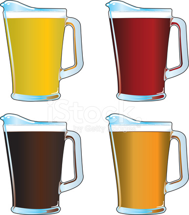 Beer Pitchers Stock Vector.