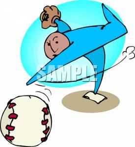 Pitcher Standing on a Baseball Mound Pitching a Baseball.