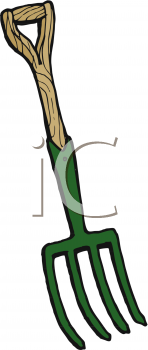 Royalty Free Clip Art Image: Short Handle Pitchfork.