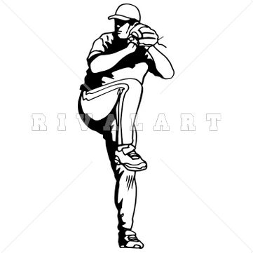 Sports Clipart Image of Black White Pitcher Pitching Baseball.