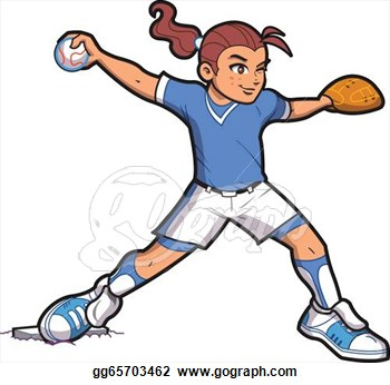 Softball Pitching Clipart.