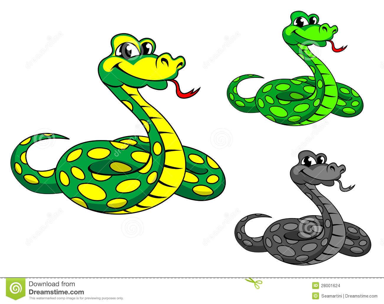 Funny Cartoon Python Snake Stock Images.