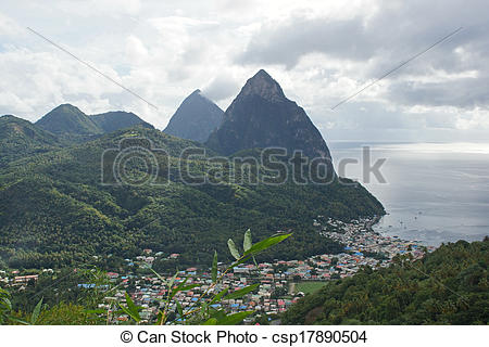 Stock Photography of Deux Pitons, Saint Lucia, Caribbean.