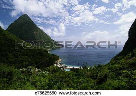 Stock Photography of St.Lucia, Resort near Pitons and Jalousie.