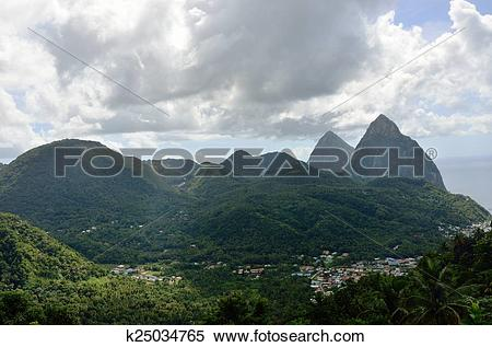 Stock Image of Soufreire and the pitons k25034765.