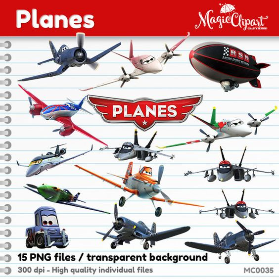 COUPON SALE Planes Clipart Pixar, PNG transparent files, instant.