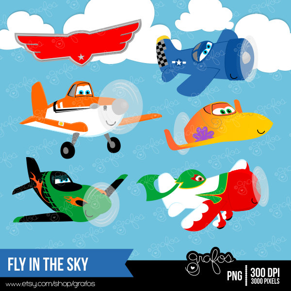 FLY in the SKY digital clipart Airplanes clipart Planes by grafos.