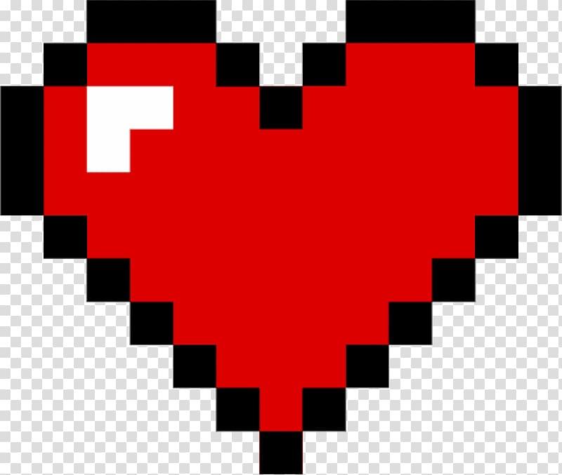 Red heart graphic, Heart Pixel art , pixel transparent.