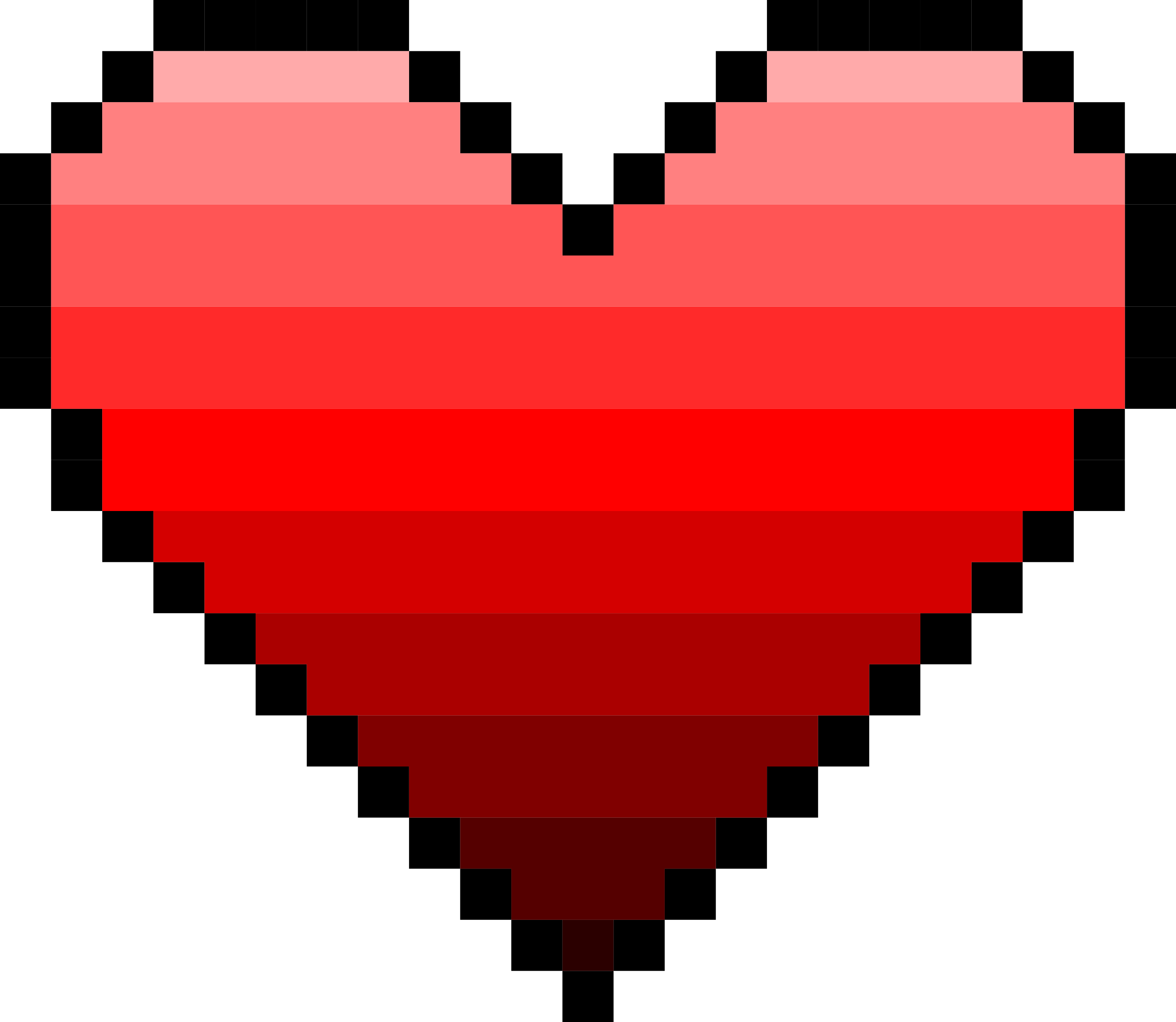6 Pixel Heart (PNG Transparent).