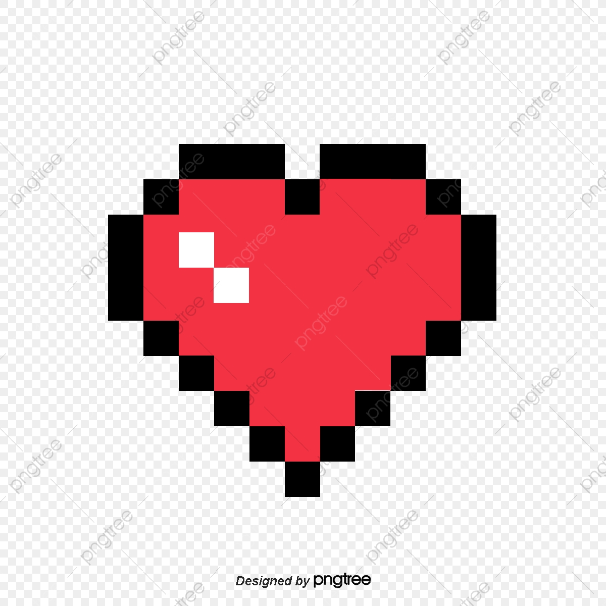 Pixel Love, Love Clipart, Red Love, Creative Love PNG.
