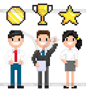 Pixel Characters with Trophy and Awards Victory.