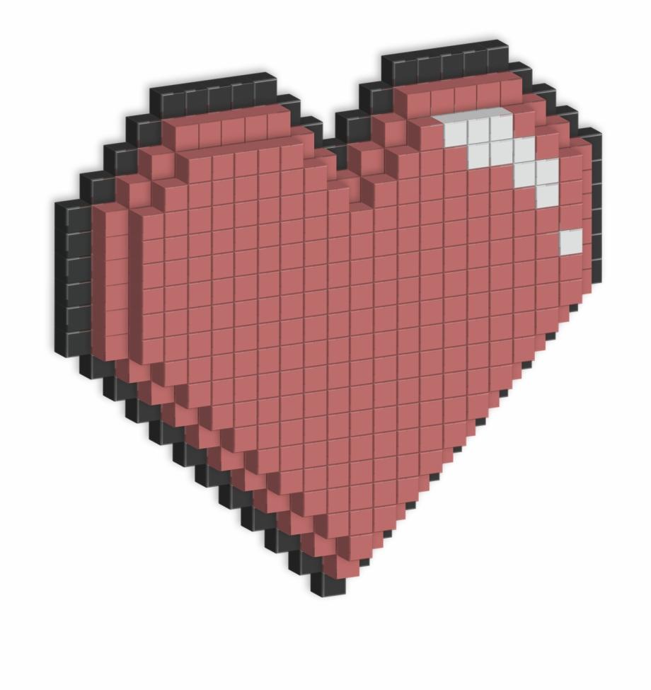 Pixel Pink Hearts Png Transparent.