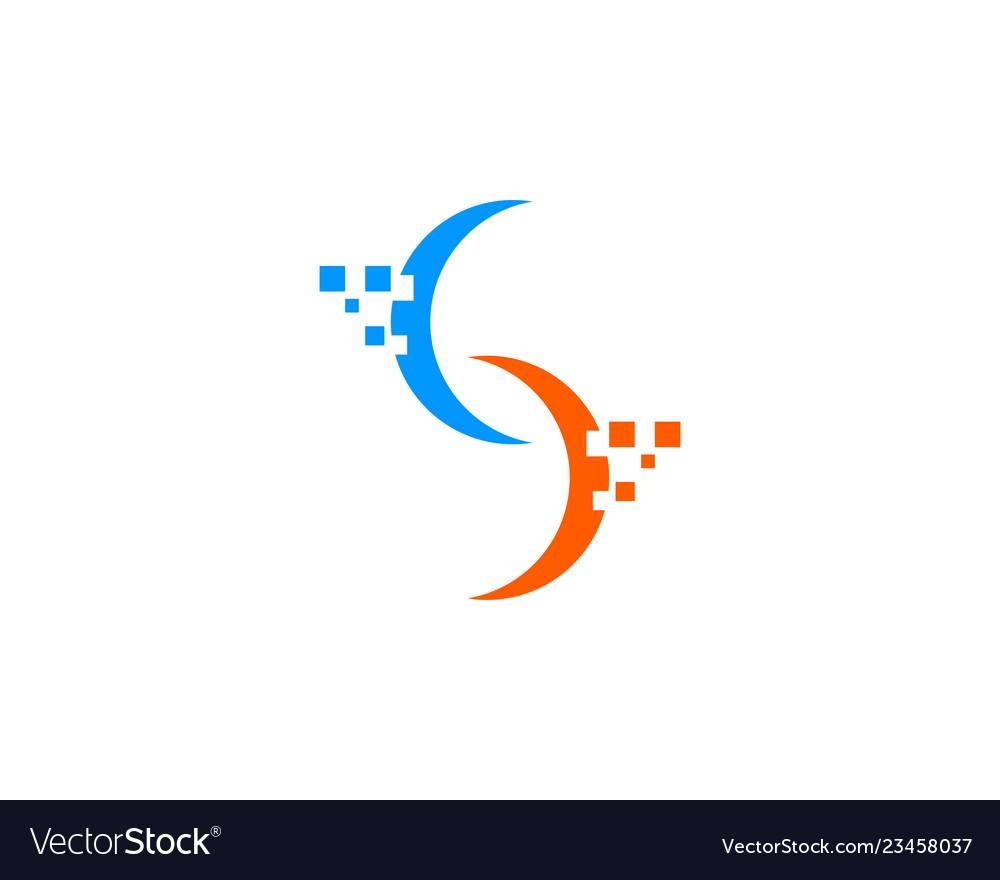 Letter s pixel logo design element.