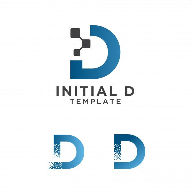 Letter d pixels logo initial design template Vector.