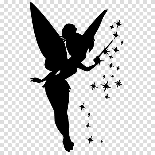 Tinker Bell Silhouette Peter Pan Pixie dust, Silhouette.