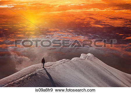 Stock Photograph of Person on mountain at sunset, Piz Palu, St.