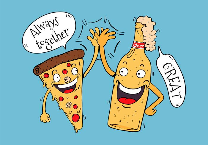 Funny Pizza And Beer Friends Character High Five Hand.