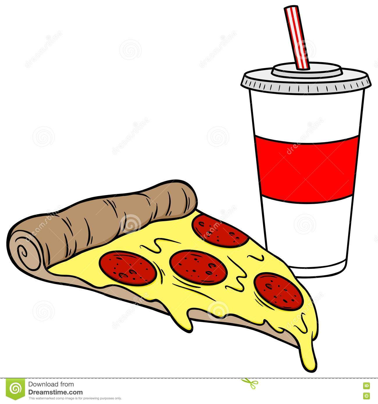 Pizza And Drink Stock Vector.